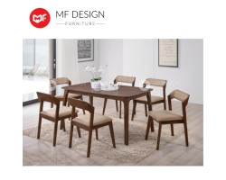 MF DESIGN Koan Dining Set (1 Round Table + 6 Chairs) - Scandinavian Style [Full Solid Wood]